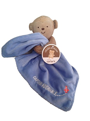 Blue Snuggle Blanket with Rattle Boy Monkey - 1