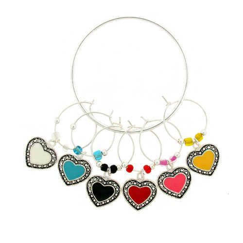 Beaded Multi-color Heart Wine Charms (Set of 6)