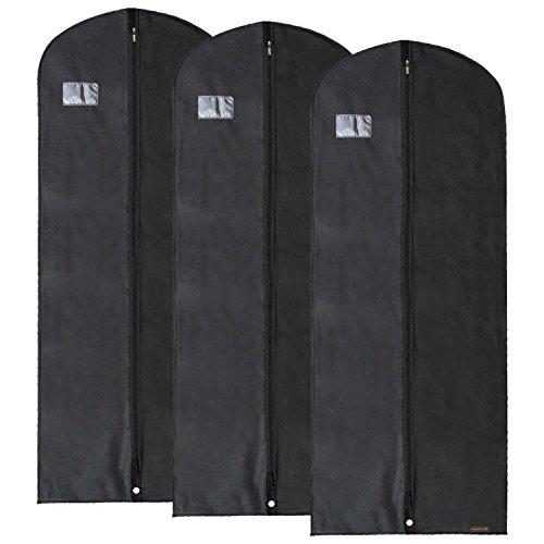 Hangerworld - 3 Custodie porta abiti in tessuto traspirante - colore nero (152 cm)