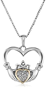 """Sterling Silver and 14K Yellow Gold Diamond Claddagh Heart Pendant Necklace, 18"""""""