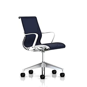 Setu Office Chair by Herman Miller - With Arms - Studio White Frame - 5-star base with standard carpet casters - Berry Blue Lyris