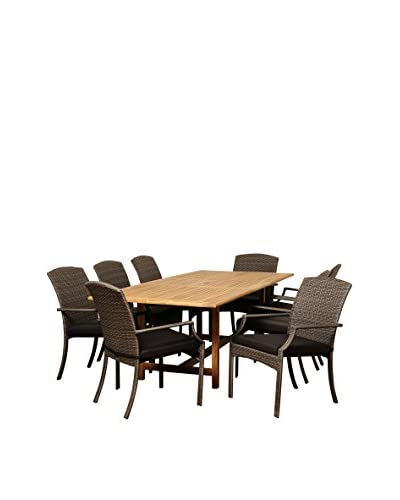 Amazonia Teak Boise 9-Piece Wicker Extendable Rectangular Dining Set with Cushions, Brown/Grey