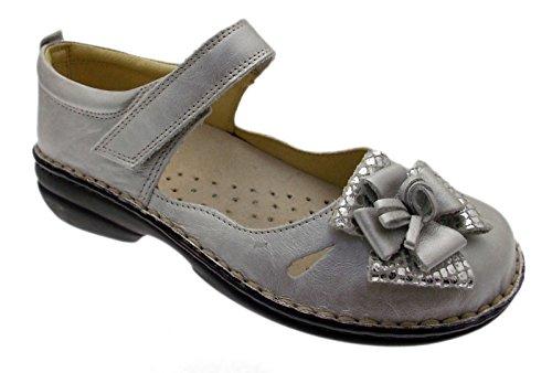 art M2598 ballerina laccetto argento grigio metal ortopedica fiore 39 grigio