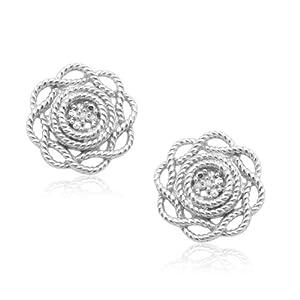 10k White Gold Flower Diamond Earrings (0.01 cttw, I-J Color, I2-I3 Clarity)