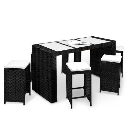 13tlg. Polyrattan BarSet schwarz/creme inkl. Sitzauflagen - Gartenbar Sitzgruppe Theke