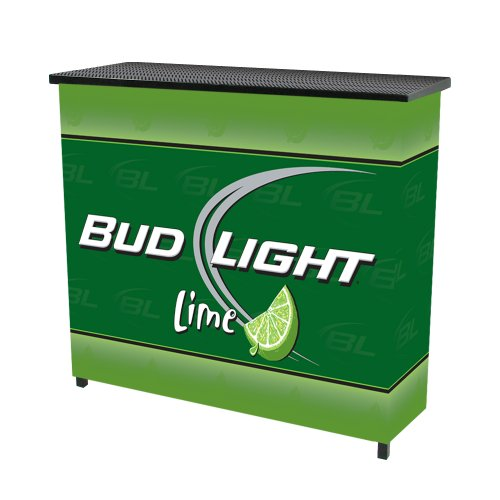 Trademark Bud Light Lime Metal 2 Shelf Portable Bar Table W/ Case, Green front-728391