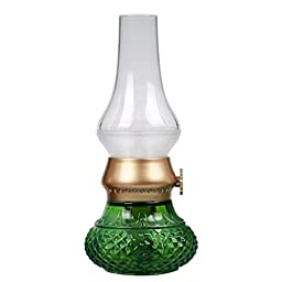 Rechargeable Flameless Candle with 8 Hour Battery Life and Realistic Blow On/Off Flame Control - Green