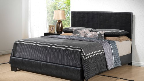 Amazing Black Queen Size Modern Headboard Leather Look Upholstered Platform Bed