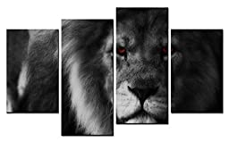 Modern Home Decoration painting Animal Wall Art White Style Portraiture a Grey Lion with Red Eyes 4 Pieces Picture on Canvas