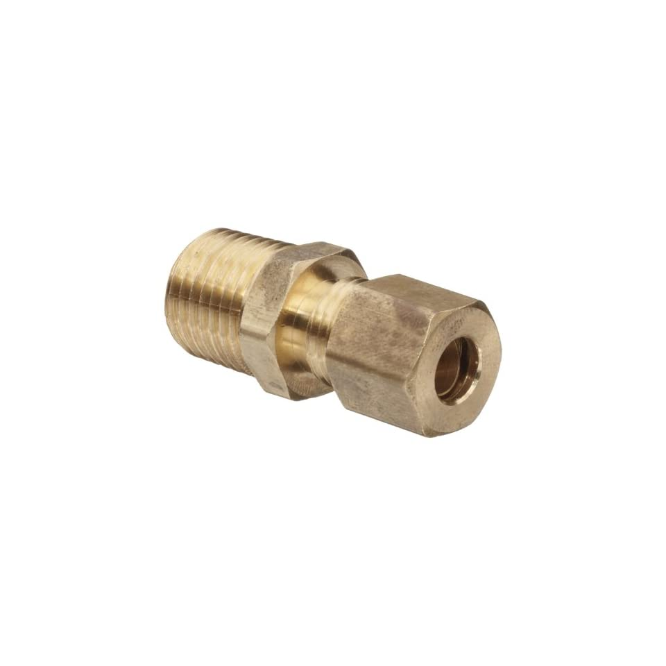 Anderson Metals Brass Tube Fitting, Connector, 3/16 Compression x 1/8 Male Pipe