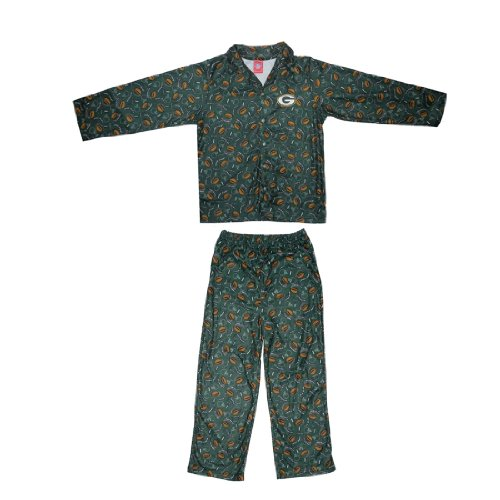 2 PCS SET: NFL Green Bay Packers Boys Or Girls Fleece Sleepwear Pajama Top & Pants Set
