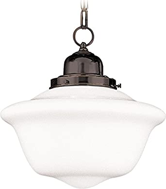 Hudson Valley Lighting 1612-OB Edison Collection 1-Light Pendant, Old Bronze Finish with White Schoolhouse Glass Shade