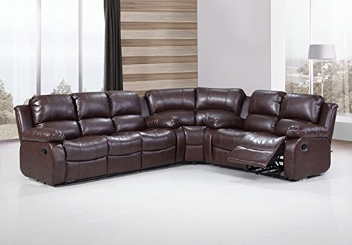 UFE Richmond Sectional Sofa with 4 Recliners Bonded Leather (Brown)