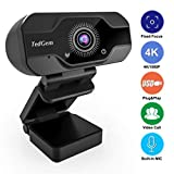 HD Pro Webcam, TedGem 8MP Fixed Focus 4K/1080P Full HD Webcam USB Webcam Desktop Laptop Camera Live Streaming Webcam Built-in Mic Widescreen HD Video Webcam, Flexible Rotatable Clip[Upgraded Version]. (Color: Dark Black)