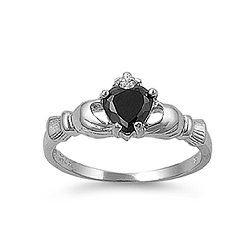 Women'S Teens Claddagh Black Onyx Cz Heart Engagement Friendship Ring