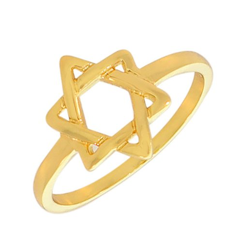 .925 Sterling Silver Yellow White Gold-Tone Classic Jewish Star Of David Ring Band (8, Yellow Gold Plated)