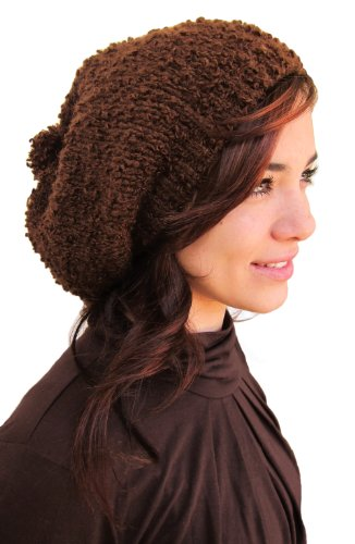 Handmade Alpaca Rasta Hat – Swiss Chocolate Knitted by Hand (Boucle Yarn)