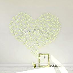 Mariposa Appear in Gossip Girl 12pcs/pack 3D Decorative Butterflies Removable Wall Art Stickers Wedding Decor - by Gefii (! ! Green)