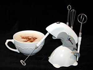 Master Mini-mixer and Drink Frother, Battery Operated/included W/4 Metal Wisks and Bird Stand