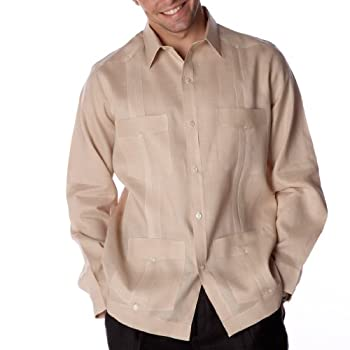Tan long sleeve Linen Guayabera shirt for men. Size XXXX-Large