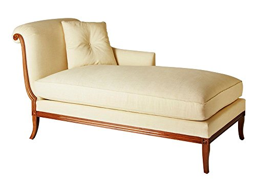 Afydecor Classsic Single Seater Chaise Sofa with a Rolled Pleated Back  - Off-White