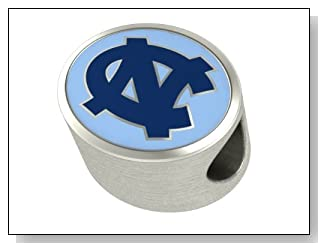 North Carolina Tar Heels College Bead Charm Fits Most Pandora Style Bracelets Including Chamilia Troll and More. High Quality and in Stock for Fast Shipping
