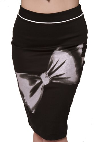 Lucky 13 Its All His Black Stretch Pencil Skirt Pin Up Girl Evening Skirt Small - XXL