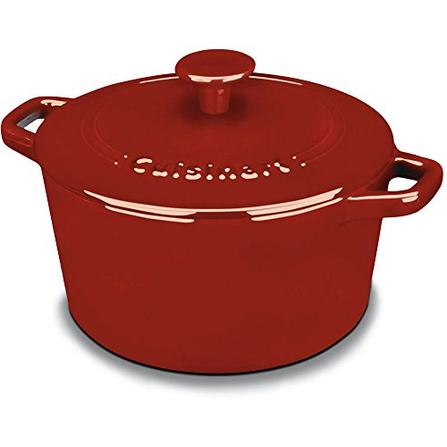 3-Quart Classic Enamel on Steel Cast Iron Round Casserole Dual Handles, Red (Cusinart Cast Iron Dutch compare prices)