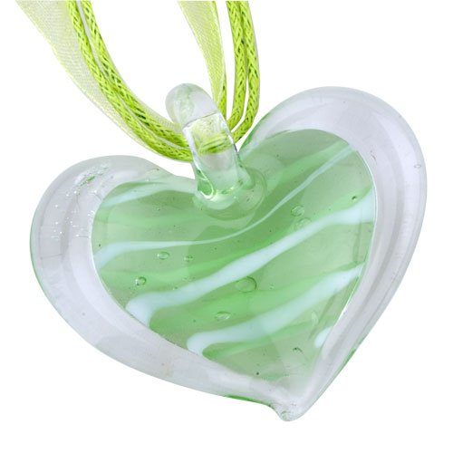 Pugster Necklace Murano Glass Green Stripes Heart Pendant Necklace