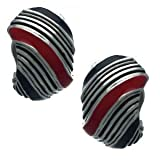 BRENDA Silver Black Red Half Hoop Clip On Earrings