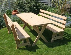 "Creekvine Designs Cedar 27"" Wide 6' Cross Legged Picnic Table With (2) 6' Backed Benches front-286696"