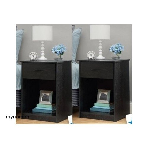 Great Features Of Set of 2 Nightstand MDF End Tables Pair Bedroom Table Furniture Multiple Colors (B...