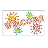 Welcome Flag Neon Design 3 - 3ft x 5ft Superknit Polyester