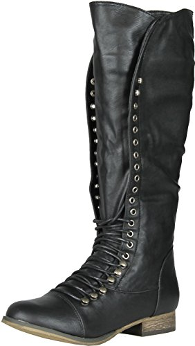 Breckelles Women's Georgia-35 Knee High Lace-Up Combat Boot