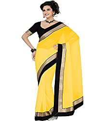 SRP Fashion Selection Women's Chiffon Saree (SRP-OF64, Yellow)