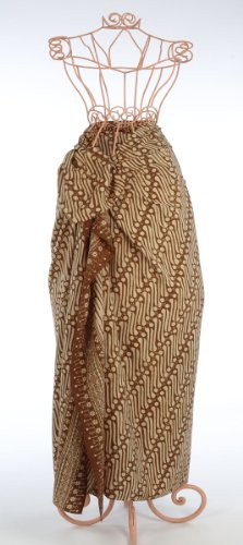 Brown on Cream Diagonal Paths Batik Sarong