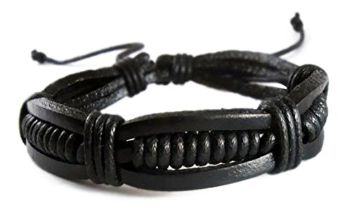 Black Retro Zen Leather Bracelet | Tribal Surf Wristband Adjustable Size for Men Women Teen (Pater Noster Cord compare prices)