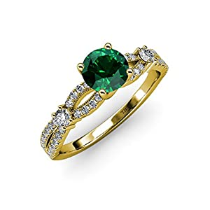 Emerald and Diamond Split Shank Engagement Ring 1.20 ct tw in 14K Yellow Gold.size 7.5