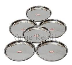 Shubham Steel Dinner Plates / Thali - 6 Pcs Set - 11.5 Inches