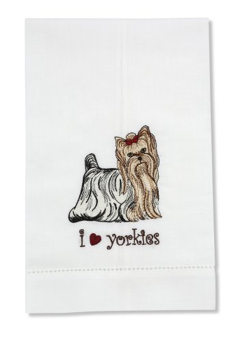 Rescue Me Now Yorkshire Terrier Tea Towel, 11 By 7-Inch, Embroidered front-439608