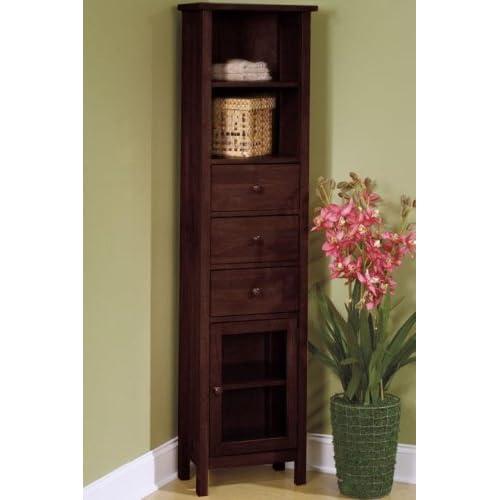 Mission corner linen cabinet glass door light for Mission style corner hutch