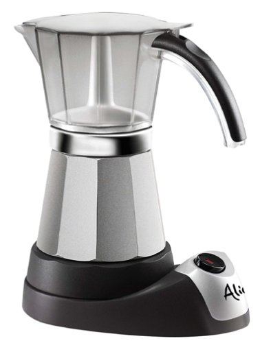 DeLonghi EMK6 ALICIA Electric Moka Espresso Maker - 6 Cup - Silver, Black 203151969