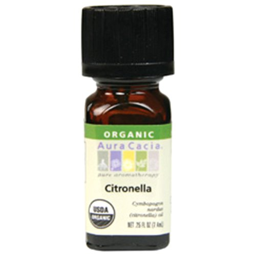 Aura Cacia Organic Essential Oil, Citronella, 0.25 Fluid Ounce