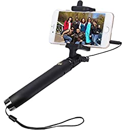Selfie Stick,SUFUM Wired Extendable Selfie Stick Monopod Handheld with Adjustable Phone Holder and Remote Shutter for iphone Samsung,etc (Black)