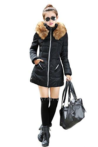 YMING donna Piumino giubbotto giaccone lungo cappuccio Hero M