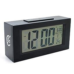 JCC Smart Light Series Sensor Intelligent Backlight Large LCD Digital Alarm Clock Theremometer Calendar Bedside Desk Alarm Clock, Battery Operated (Black)