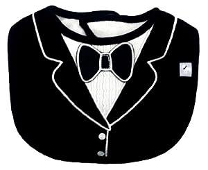Frenchie Mini Couture Tuxedo Bib with 3D Applique, Black