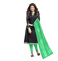 Stylowoman Un-stitched Cotton Cambric Dress Material Free Size Black