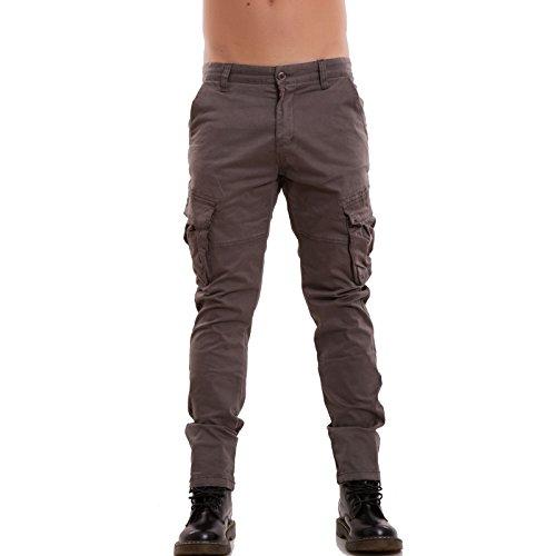 Toocool - Pantaloni uomo jeans denim CARGO slim tasconi casual aderenti nuovi P8578 [42,kaki]