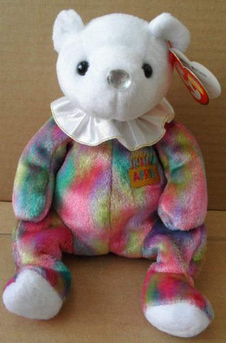 TY Beanie Babies Diamond April Birthday Bear Stuffed Animal Plush Toy - 8 1/2 inches tall - Multi-Color with White Head - 1